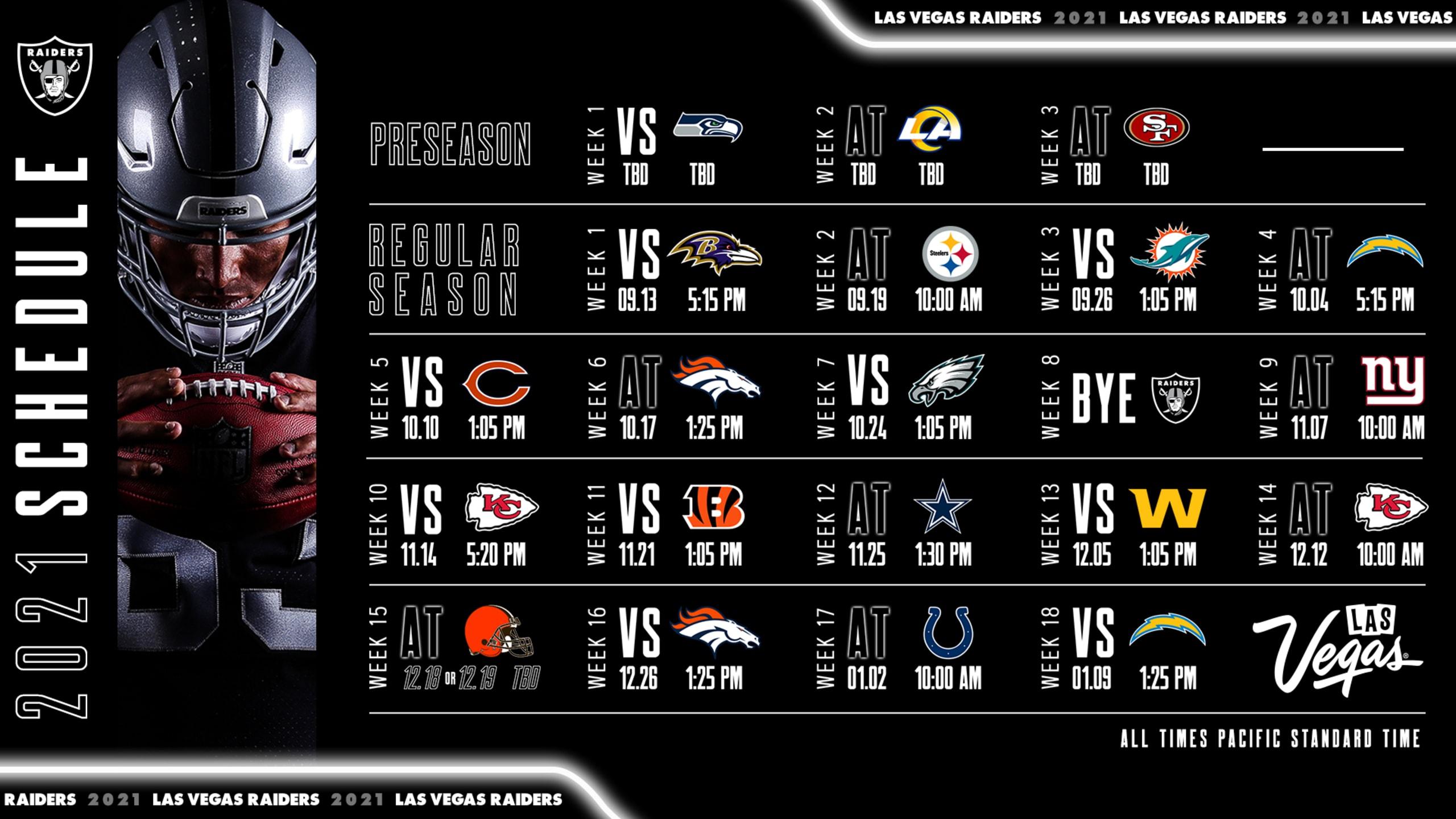 Raiders Schedule 2021 VegasNews Las Vegas News