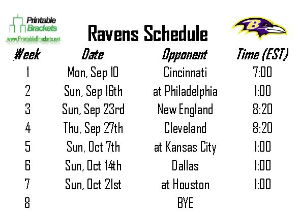 Ravens Schedule Baltimore Ravens Schedule Printable