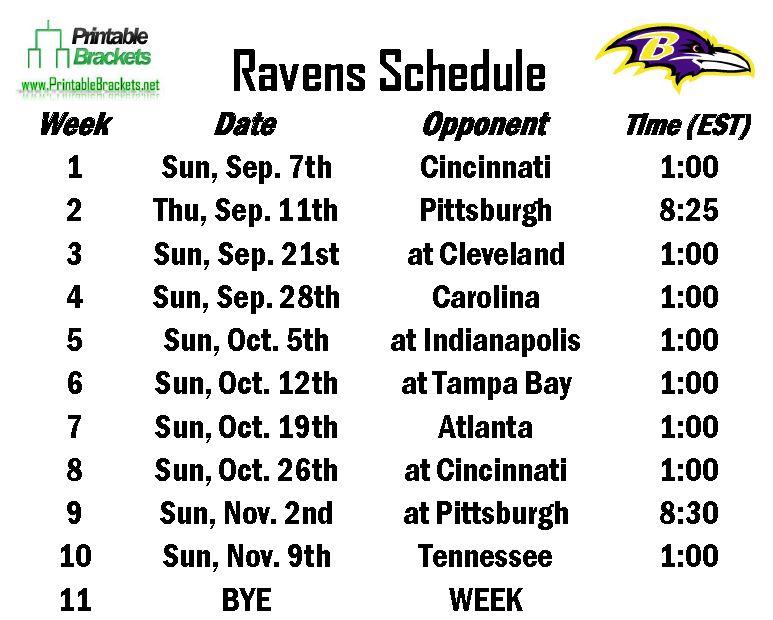 Ravens Schedule Baltimore Ravens Schedule