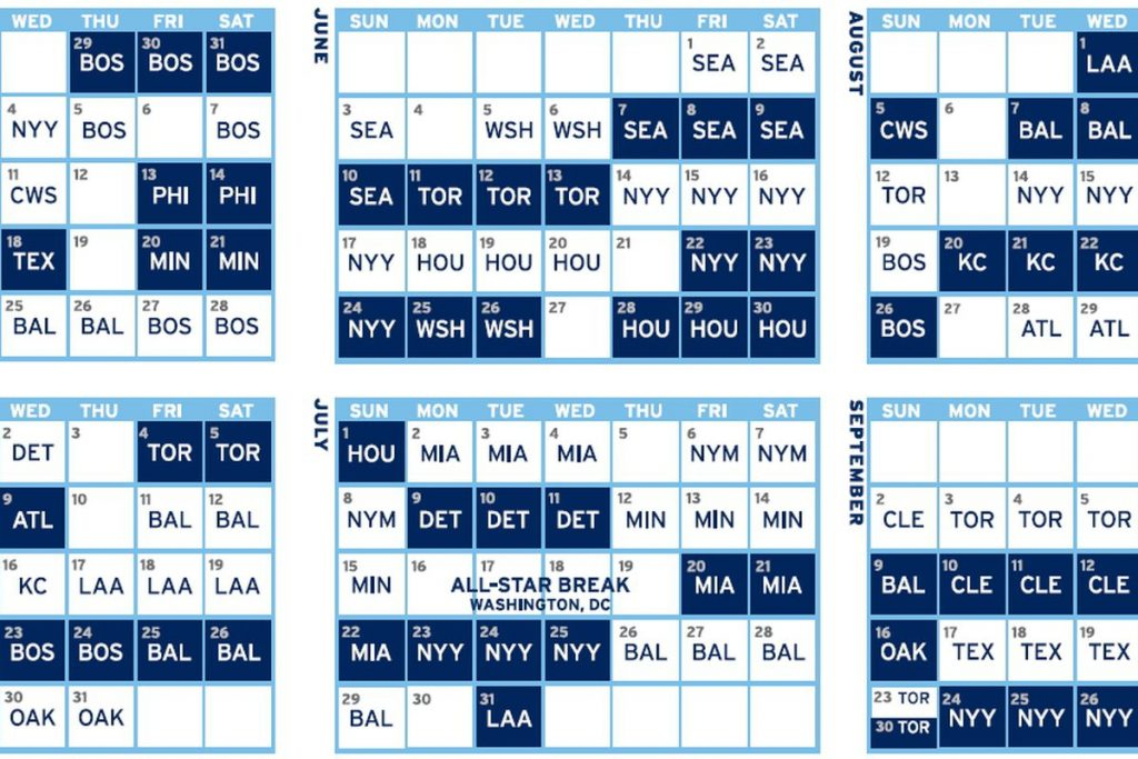 Rays Printable Schedule That Are Handy Alma Website