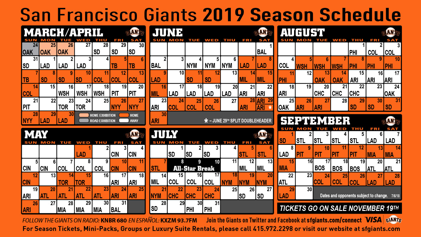 Sf Giants Schedule Printable That Are Comprehensive Ruby