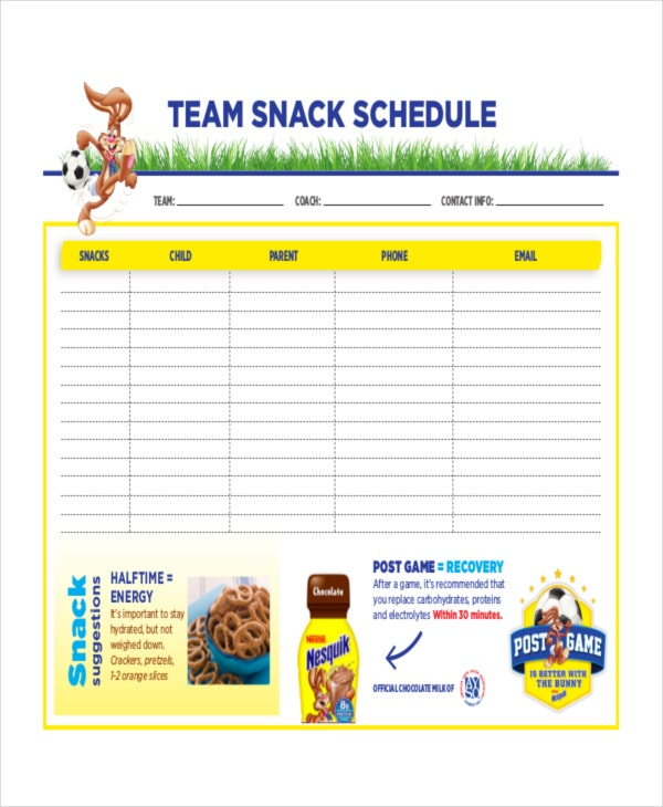 Snack Schedule Template 7 Free Word Excel PDF