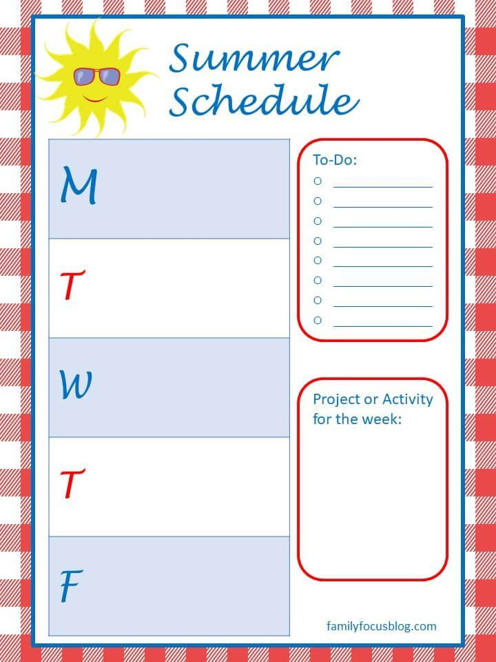 Summer Schedule For Kids Free Printable Family Focus