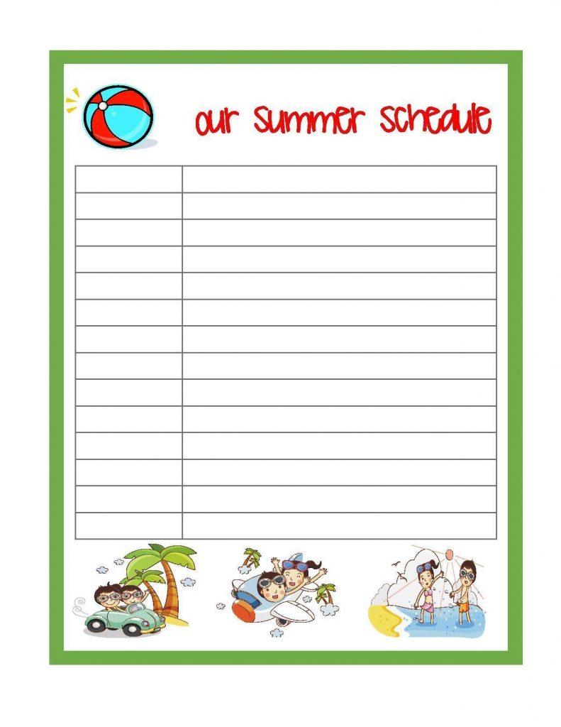 Summer Schedule For Kids Free Printable Summerschedule
