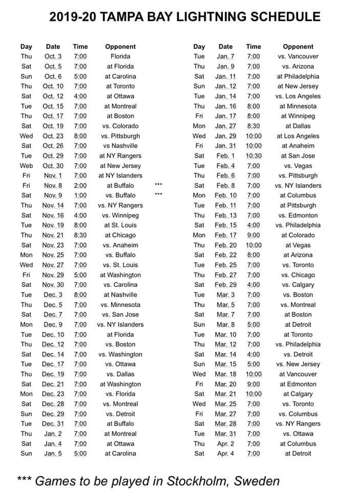 Tampa Bay Lightning 2019 2020 Schedule TampaBayLightning