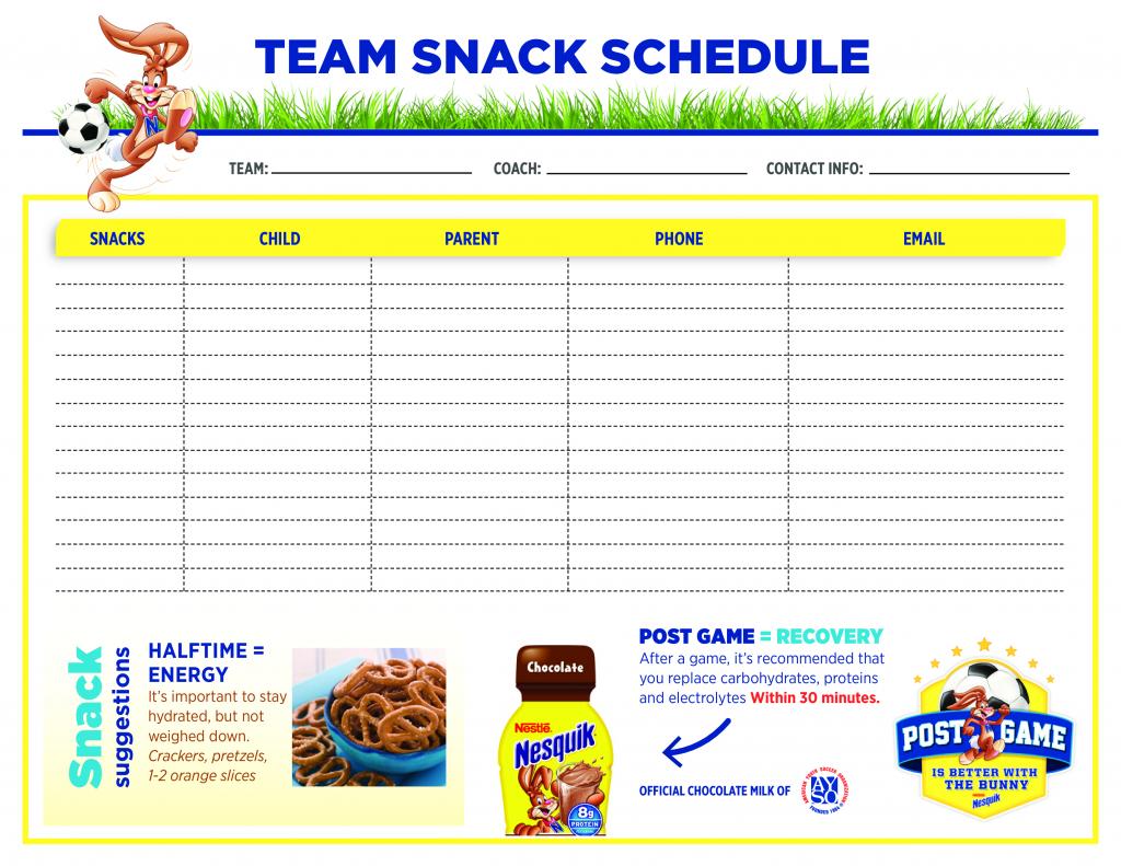Team Snack Schedule Templates At Allbusinesstemplates