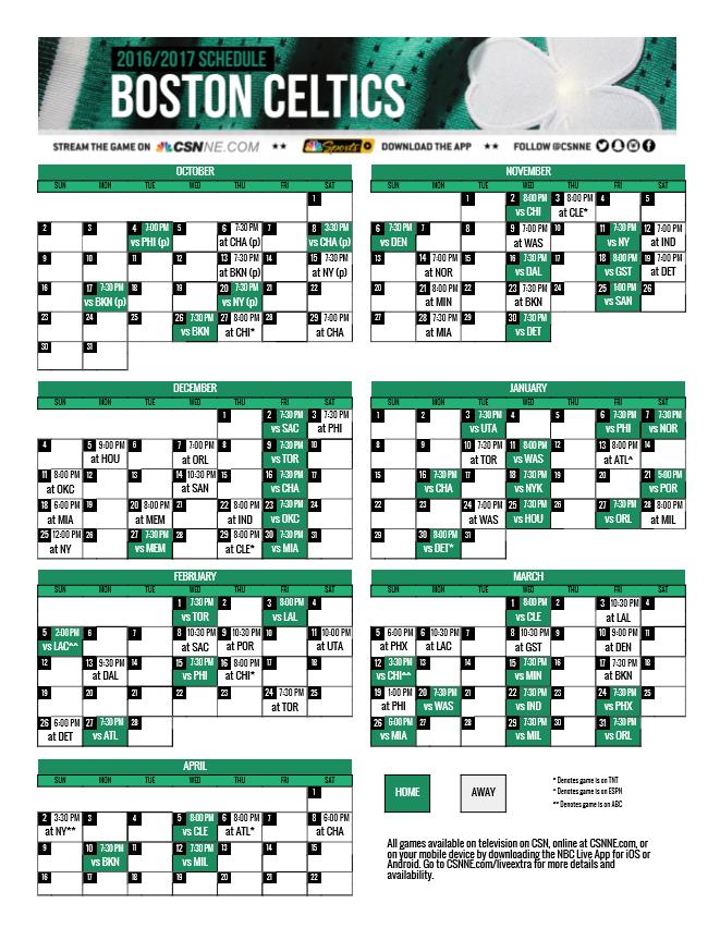Top Celtics Printable Schedule Derrick Website