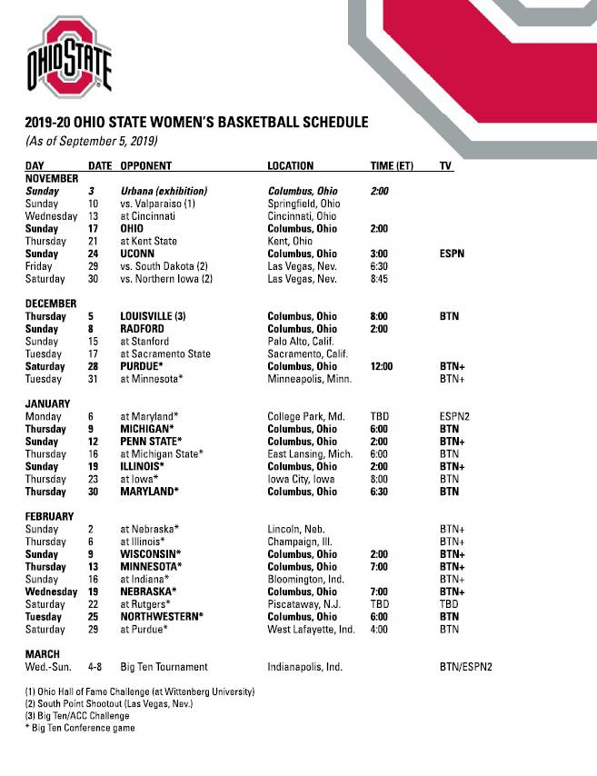 TV Games And Tip Times Set Ohio State Buckeyes