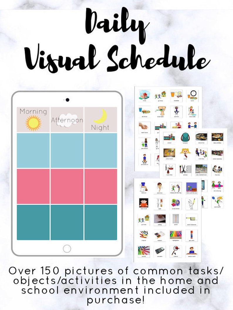 Visual Schedule Printable With PECS Divided By Time Of Day