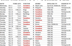 Download A Printable TV Schedule For The Canadiens 2018