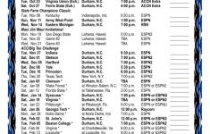 Duke Basketball Schedule Printable