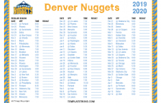 Printable 2019 2020 Denver Nuggets Schedule