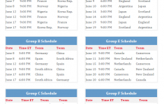 Printable 2019 Women S World Cup Group Schedule
