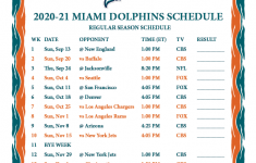 Printable 2020 2021 Miami Dolphins Schedule