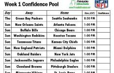Printable Nfl Week 1 Schedule Pick Em Pool 2017 All
