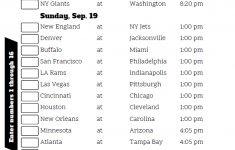 Printable Nfl Week 2 Schedule That Are Priceless Roy Blog